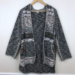 UO ecote Rainboow Stitched Hooded Cardigan
